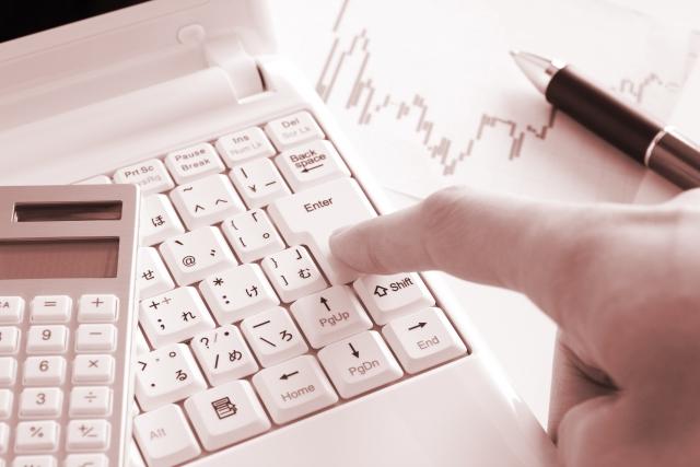 パソコンでチェックする男性